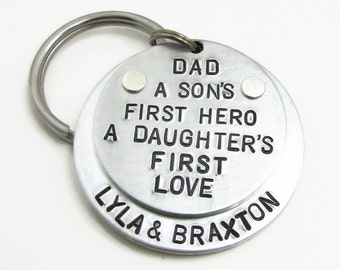 Personalized Dad Keychain, Personalized Keychain, A son's first hero a daughter's first love, Hand Stamped Gift for Dad, Father's Day Gift
