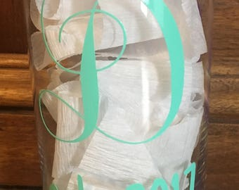Monogrammed Decal Glass Vase