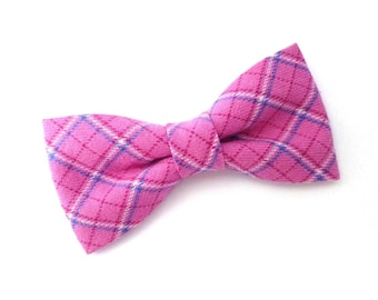 Flannel pink plaid clip on bow tie for women or men adult size