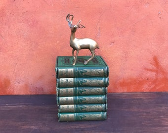 Lot 6 vintage antique Antiquarian 1800s Victorian ornate decorative Hardcover Books. BOOK STACK. Photo prop Home Decor. Green Metallic gold