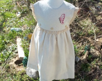 Size 2 t -Hand Embroidery dress,Sunday dress, cotton dress, Special occasion dress, Party dress, b'day dress,