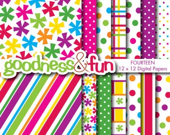 Buy 2, Get 1 FREE - Winter Owl Bright Digital Papers - Digital Bright Paper Pack - Instant Download