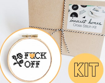 F*ck Off Modern Cross Stitch Kit - easy chart design with guide - rude offensive bad taste funny quote - mature embroidery kit swear words