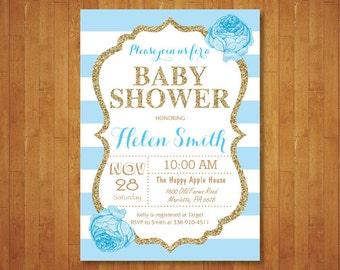 Blue and Gold Baby Shower Invitation. Blue Black Gold Glitter. Floral. Baby Boy Shower Invitation. Black Stripes. Printable Digital.