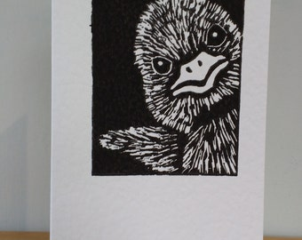 Hand Crafted Lino Print Cute Duckling Card