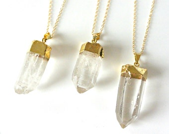 Quartz Necklace, Raw Quartz Crystal Point Necklace, Crystal Necklace, Long Necklace, Layering Necklace, Gemstone Necklace, Gifts For Her