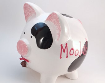 Cow Piggy Bank - Personalized Piggy Bank - Moolah Piggy Bank - Cash Cow Bank - Farm Theme Bank - Baby Gift - with hole or NO hole in bottom