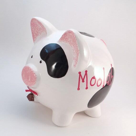 cow piggy bank personalized piggy bank moolah piggy bank