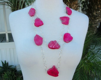 Longer Red Magnesite Slabs 0n Silver Chain, Optional Red Coral Earrings, ONE Long Necklace by SandraDesigns