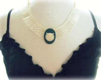 ON SALE  Owl and Lace Necklace