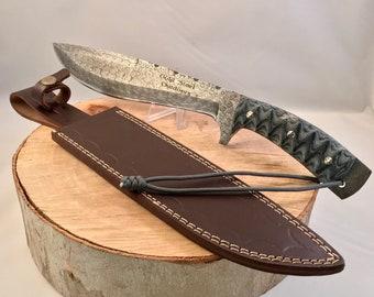 Alaskan Hunter Damascus Steel Kukri Style Knife 15 Inches Blue Jean Denim Micarta Handle Custom Genuine Leather Sheath