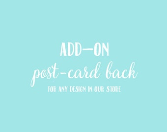 Add-On Post-Card Back to Any Response Card