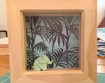 Origami Elephant in a solid wood Frame