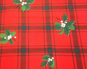Vintage Christmas Fabric - 2 1/4 Yards - Holly Print / Holly Fabric / Red Green / Christmas Print / Christmas Plaid / Christmas Fabric