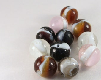 Pink, Brown, Black and White Lampwork Glass Round Marble Beads, Wholesale Bead Mix #1