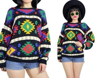 vintage 90s southwestern sweatshirt soft grunge pullover sweater neon ethnic tribal print slouchy knit top s/m