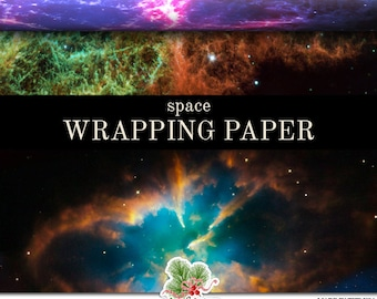 Space Wrapping Paper | Galaxy Gift Wrap Matte Finish 9 ft. or 18 ft. Rolls For Any Occasion. A Beautiful Composite Of Space Images