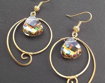 polished brass print Peacock stone earrings
