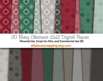 "12"" by 12"" COMMERCIAL Use Digital Scrapbooking Paper - Berry Christmas Printed and Solid Papers for Digital Paper - Instant Download"