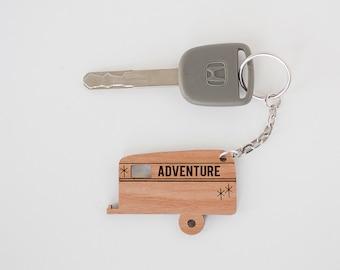 Key Chain, wood, camper, adventure, laser