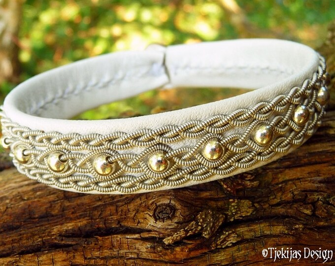 White Reindeer Leather Sami Bracelet YDUN Arctic Tundra Spirit White Wedding Jewelry with Sterling Silver Beads - Handmade Natural Elegance