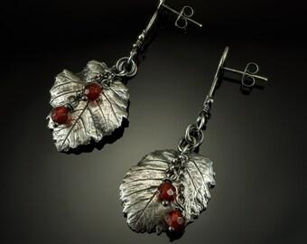 Red agate Elm silver leaf earrings