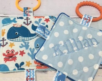 Baby Boy Toys, Baby crinkle toys, baby teething toys, baby nautical toys, whales, sea creatures, baby personalized toys