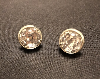 Silver Glitter Stud Earrings - *FREE SHIPPING on Additional Items!