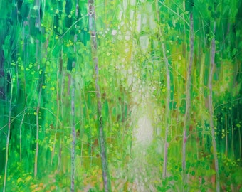 LARGE ORIGINAL Oil Painting - King of the Green Wood - a green painting with deer