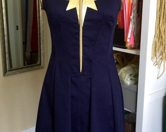 Captain Marvel Superhero Dress Costume. Cosplay,Custom made