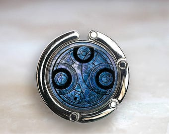 Time Lord purse hook, Dr Who purse hook, gift for Dr Who fan, Whovian gift, Time Lord Seal purse hanger bag hook Time Lord gift