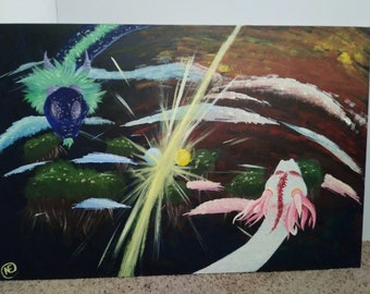 """Acrylic Painting, """"Warring Skies"""" - 36x24in Canvas (1)"""