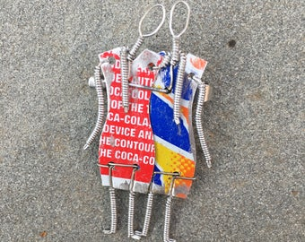 Kenyan Brooch made from Recycled Soda Cans