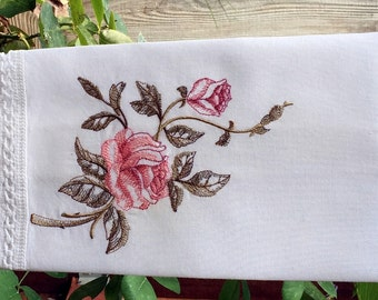 Linen Guest Towel - Vintage Rose