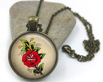 Sailor Jerry Necklace, Nautical Pendant,Rockabilly Necklace, Sailor Jerry,Retro Pendant,Pinup Necklace, tattoo,gift for wife,gift for her 18