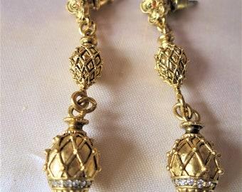 Vintage ornate gilt metal/rhinestone dangle earrings for pierced ears