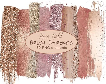 Brushed Metallic,Glitter paint,shimmering Textile,png brushes,Rose Gold Brush,Brush Stroke Clipart,Gold Brush Strokes Clipart,
