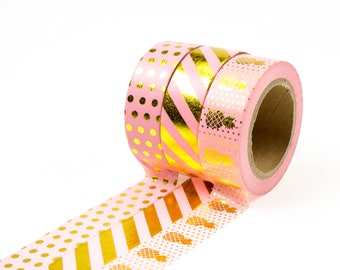 Set of 3 (or one) gold foil pink washi tape. Masking tape, Stationary, planner