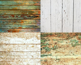 COMBO / FOUR PACK / 2ft x 2ft Vinyl Photography Backdrops for Product Photos Vintage Wood  Fl2