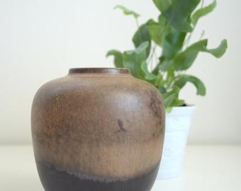 Small Brown Vase, German Majolika Vase, Vintage Vase, Small Pottery, Retro Vase, Brown Vintage Pottery