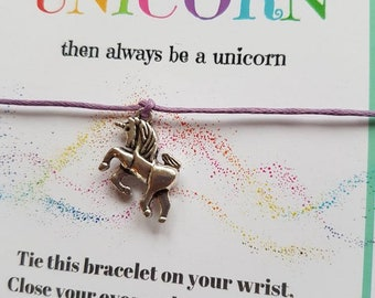 Handmade Personalised UNICORN  Night / Party / Friendship / Wish Bracelets party favours