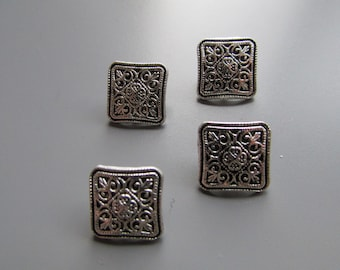 Silver Metal Square Buttons X 4