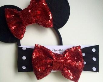 Mickey Mouse/ Minnie , Disney,Sparkle Bow Headband, babies newborn children adults