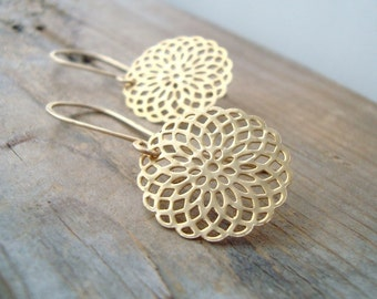 Gold Mandala Earrings Metalwork Zen Jewelry Yoga Jewelry Asian Style Modern Long Dangles Gifts For Her Mothers Day Gifts Serenity