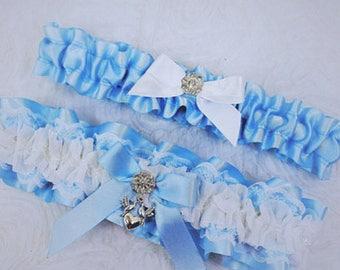 Light Blue and Lace Garter Set, Something Blue, Ribbon and White Lace Garter, Powder Blue Garter, Prom Garter, Keepsake and Toss Garter Set