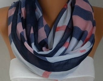 Mother Gift,Pink&Blue White Plaid Cotton Scarf,Soft,Tartan Scarf,Birthday Gift,Cowl, Oversized Gift For Her, Women Fashion Accessories