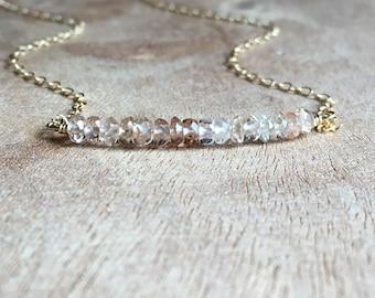 Topaz Necklace - Champagne Topaz Necklace- November Birthstone Jewelry- Topaz Jewelry - Imperial Topaz Necklace Gold or Silver
