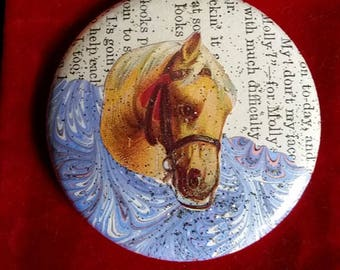Booklover's Pocket Purse Mirror with a Velvet Pouch