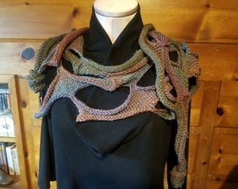 Unique One of a Kind Knitted Scarf/ Shoulderette