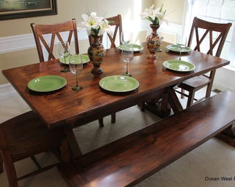 Farmhouse Kitchen Table Dining Rustic Farm Style